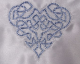 White satin lingerie case nightdress case with lace edging and embroidered Celtic heart.