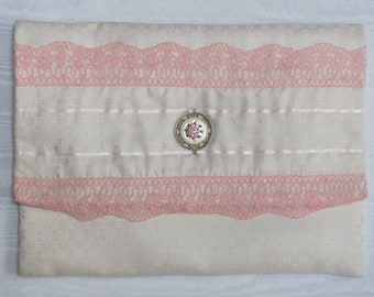 Nightdress case or lingerie case in cream English pure silk with pure silk lining and pink lace.