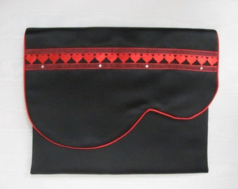 Nightdress case or lingerie case in black Duchess satin with red hearts and diamonté.
