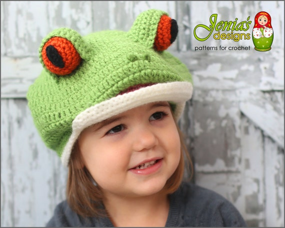 Crochet Pattern Tree Frog Animal Hat Pattern For Baby Etsy