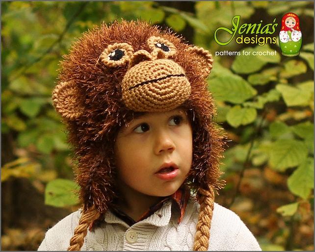 Crochet Hat Pattern Monkey Animal Hat Orangutanape Hat Etsy