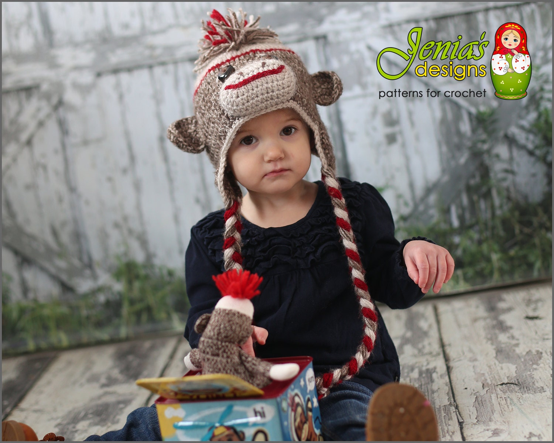 Crochet Pattern Sock Monkey Hat For Baby Toddler Child Etsy