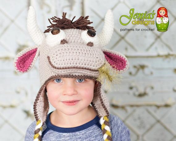 Crochet Pattern Crochet Cowbull Hat Pattern Crochet Farm Etsy