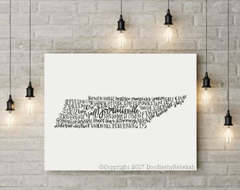 Hand Lettered GOODLETTSVILLE Tennessee Word Art Print 8x10