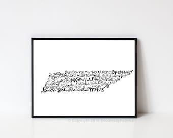 Hand lettered NASHVILLE Tennessee Word Art Print // 8x10