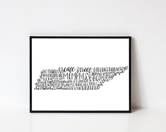 hand lettered MEMPHIS TN Word Art  Print // 8x10