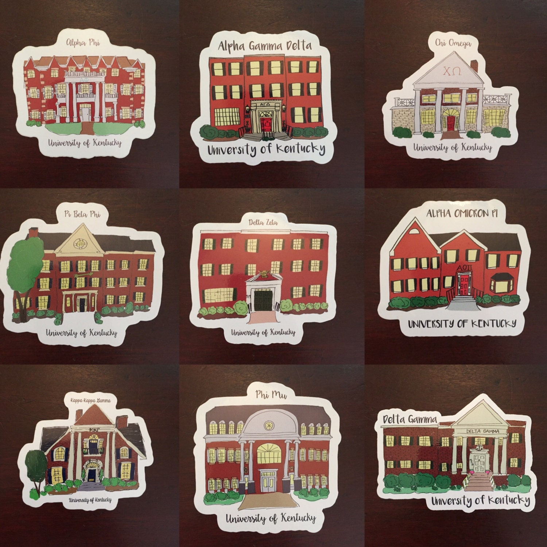 Uofk Sorority House Stickers Etsy
