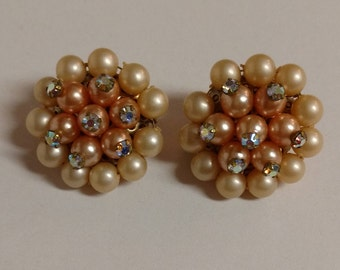 Vintage Light Pink Faux Pearl and Rhinestone Clip On Earrings