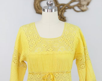 Vintage 1970's Canary Yellow Mexican Wedding Dress