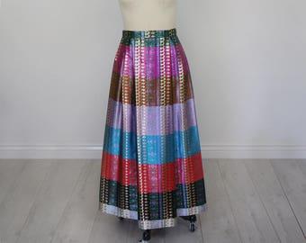 Vintage 1970's Multicolor, Metallic Moroccan Maxi Skirt