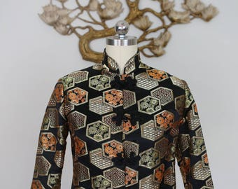 Vintage 1970's Japanese Brocade Jacket with Frog Closures and Mandarin Collar