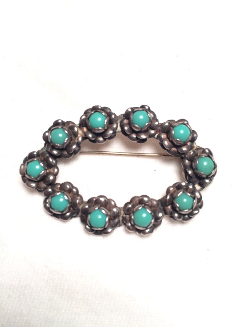 Vintage  925 sterling silver handcraft flower turquoise pin brooch p28