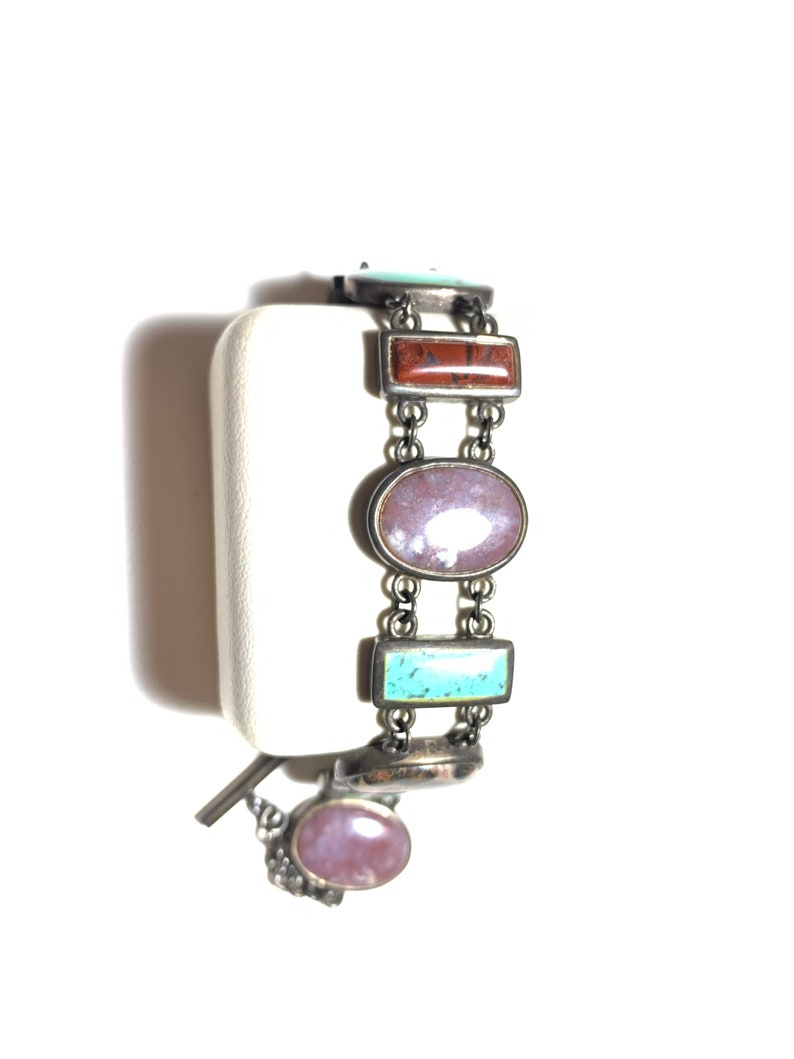 Vintage 925 sterling silver turquoise and multi gems  stone bracelet B287