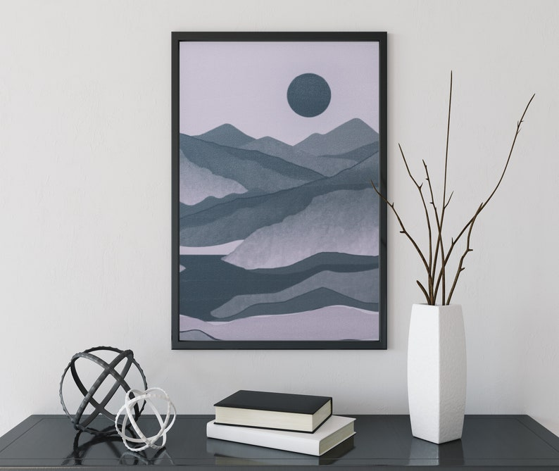Pink and Gray Moon Mountain Poster Gothic Decor Bohemian Decor image 0