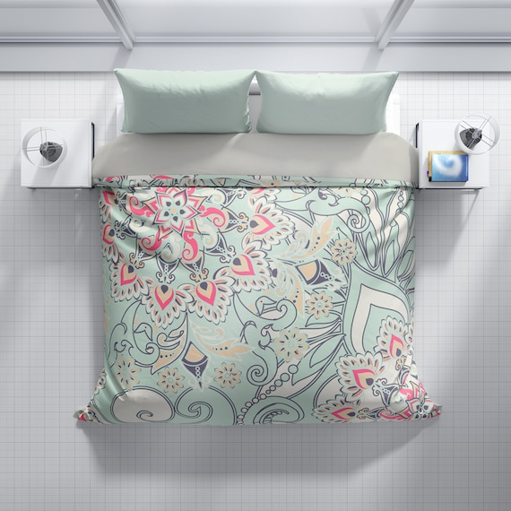 Fl Duvet Cover Teal And Pink, Pink Grey And Mint Bedding
