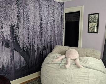 Wisteria Willow Tree Tapestry - Wisteria Purple Gray - Purple tree tapestry