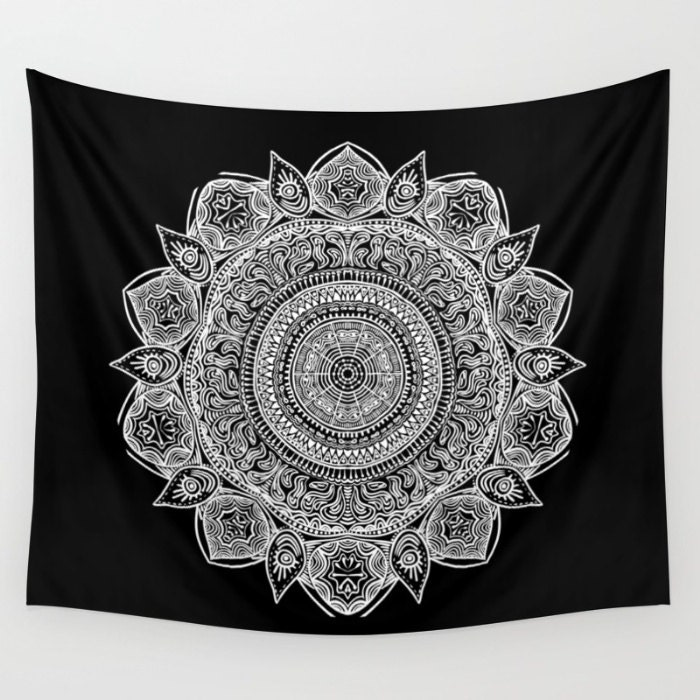noir et blanc mandala mur tapisserie yoga m ditation. Black Bedroom Furniture Sets. Home Design Ideas