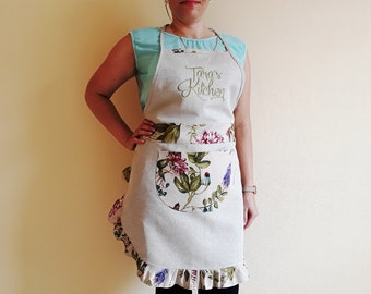 Linen apron Custom apron Personalized embroidered aprons for women Gift for her Cute cooking apron Floral apron with ruffles and pockets
