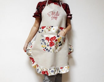 Custom linen apron Embroidered apron Personalised Kitchen aprons with pockets Womens apron with ruffle Gift for her mom Cute cooking aprons