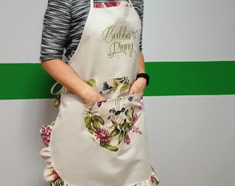 Custom linen apron Embroidered apron Personalized kitchen aprons Womens aprons with pockets Cute cooking apron Gift for her mum grandma