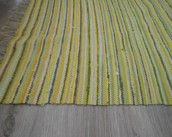 Rag Rug Handmade rag rug Runner Woven rug Yellow Green rag rug Textile Traditional Rag rug for sale Floor rag rug Homemade rug Gift for her