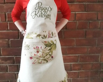 Custom linen apron Embroidered apron Personalised Kitchen aprons with pockets Womens apron Gift for her Cute cooking aprons for women mother