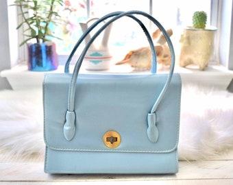 Vintage 1950s Pastel Blue Handbag Purse 5540f30dbc