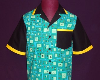 Cotton Men's Button Down Bowling Style Shirt - Made with Adventure Time BMO Printed Fabric