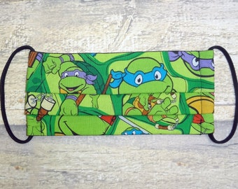 Child Face Mask with Pocket for Filter - Triple Layer Cotton Fabric Face Mask, Washable, Reusable - Made with Ninja Turtles Printed Fabric
