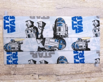 Adult Face Mask with Pocket for Filter - Triple Layer Cotton Fabric Face Mask, Washable, Reusable- Made with Star Wars R2D2 Printed Fabric
