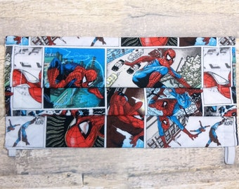 Adult Face Mask with Pocket for Filter - Triple Layer Cotton Fabric Face Mask, Washable, Reusable- Made with Spiderman Printed Fabric
