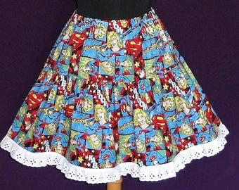 Girl's Cotton Ruffled Circle Skirt with Lace - Made with Supergirl Printed Fabric