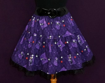 Nightmare Before Christmas Jack & Sally Print Ruffled Circle Skirt with Lace