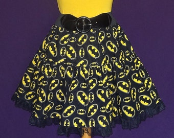 Cotton Ruffled Circle Skirt with Lace - Made with Batman Symbol Printed Fabric