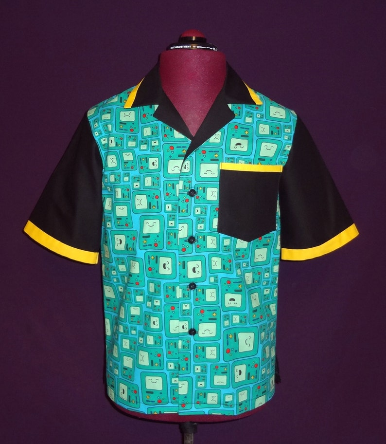 Cotton Men's Button Down Bowling Style Shirt  Made with image 0