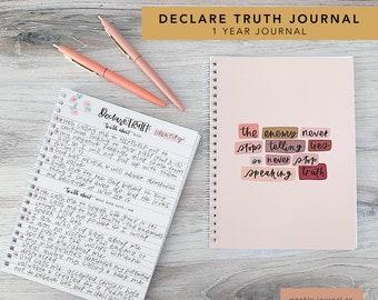 Quiet Time Journal, Bible Journal, Declare Truth Journal, 1 Year Journal