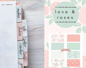 Books of the Bible Tabs, with adhesive, Love & Roses print