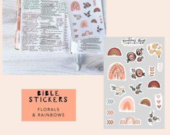 Bible Journaling Sticker Sheet, Florals & Rainbows