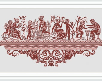 Cross stitch pattern PDF Instant download - Greece seasons antiquity ornament - Digital chart