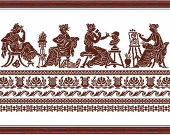 Greek muses and antique ornament - Diagram for  cross stitches - Cross stitch pattern PDF Instant download