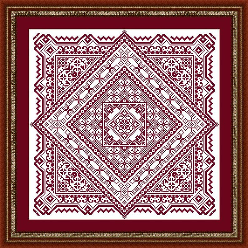 Cross stitch pattern-Folk motifs square rhombus-instant image 0