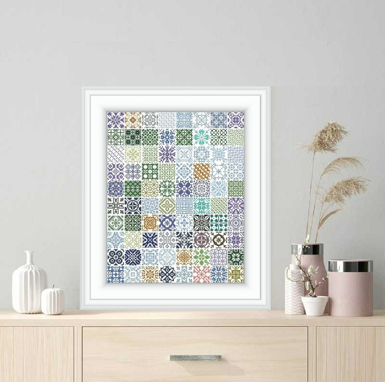 Cross-stitch pattern  Sampler patchwork Mini squares ETUDE  image 0