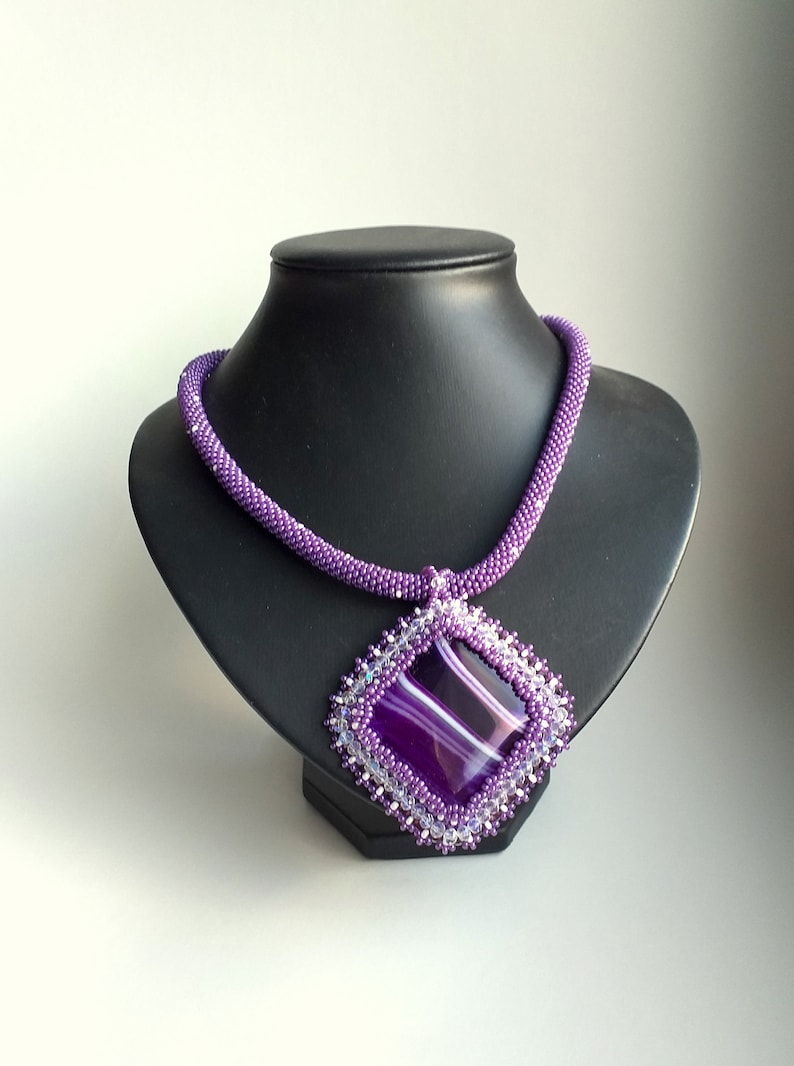 Agate Embroidered Pendant Purple  Wedding Agate pendant Seed Beads Necklace stone pendant. Vintage Style