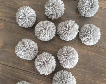 12 Light Gray Yarn Pom Poms, Craft Supplies, Party Decor