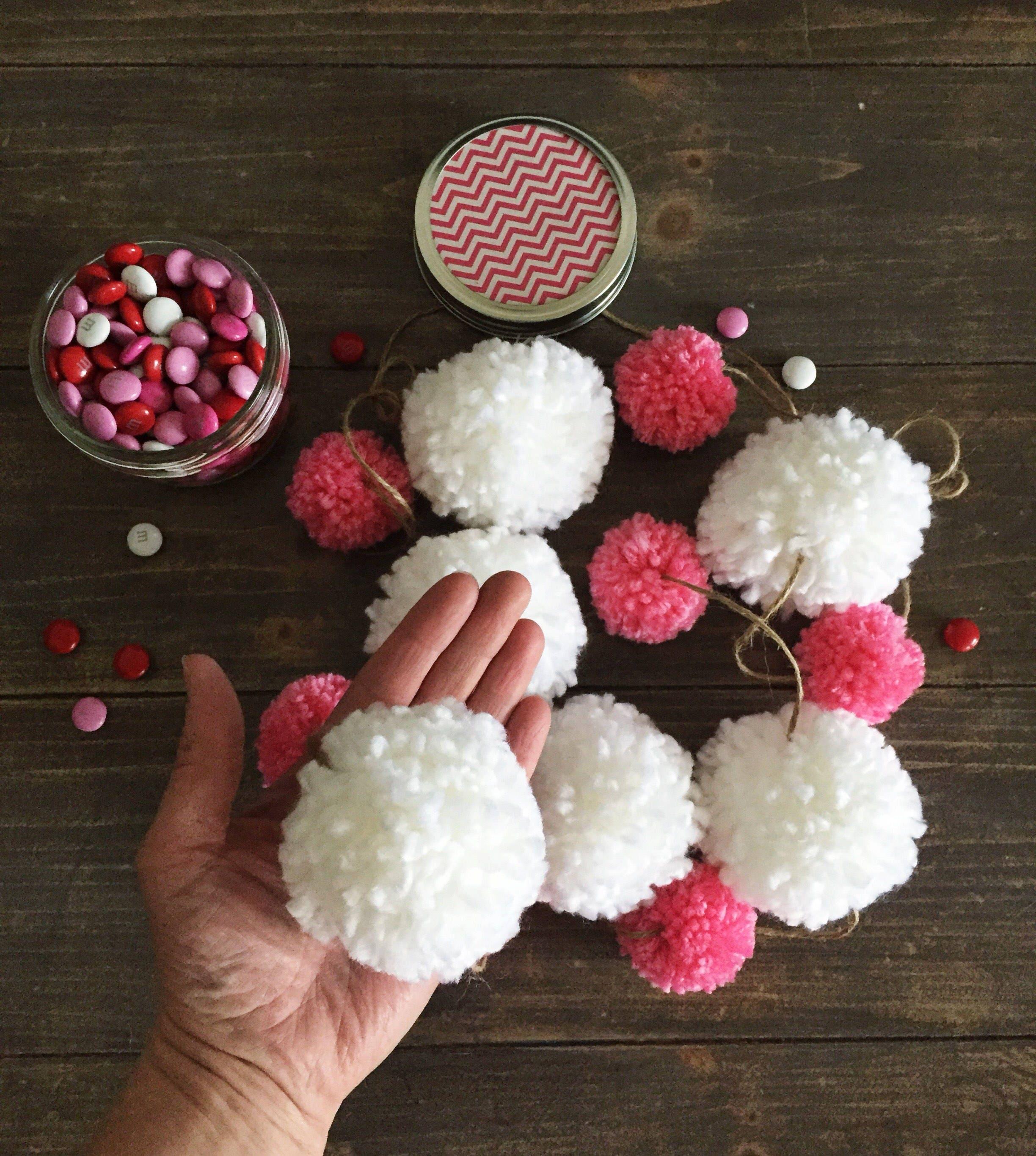 Pink White Pom Pom Garland Pom Poms Birthday Garland Etsy