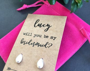 Will you be my bridesmaid earrings on display card.