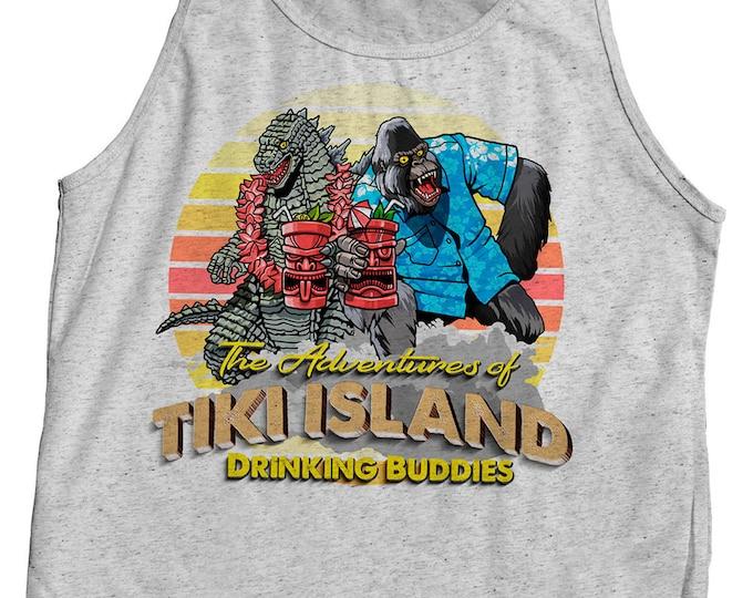 Mens Tiki Tank Top Godzilla and King Kong Drinking rum tshirt