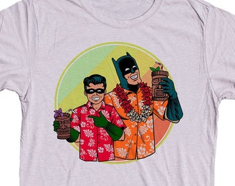 Batman and Robin Tiki Shirt. Mens T-Shirt.