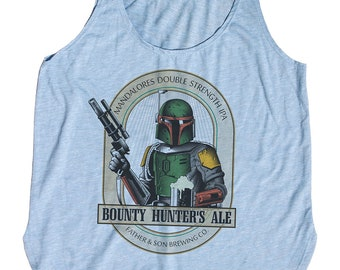 Star Wars Beer Shirt - Womens Boba Fett Bounty Hunter Ale Hand Screen Printed on a Womens Tank Top - Boba Fett Shirt - Bounty Hunter Shirt