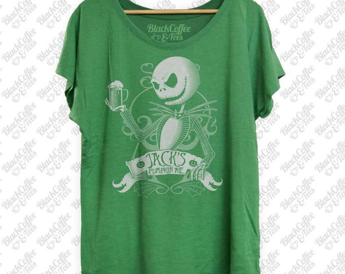 St. Patricks Day Shirt - Jack Skellington Shirt - Nightmare Before Christmas Shirt- Jack Skellington Womens Green Dolman